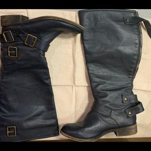 Navy blue buckled knee high boots